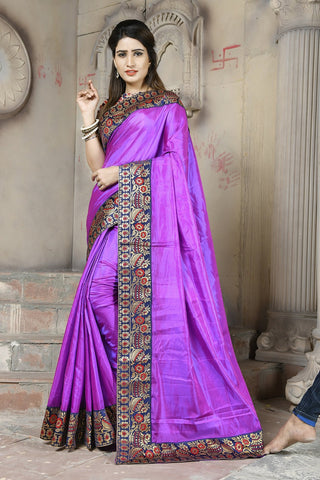 Purple Color paper Silk Saree - NCC131D