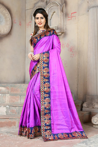 Purple Color Paper Silk Saree - NCC132D