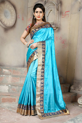 Turquoise Color Paper Silk Saree - NCC133B