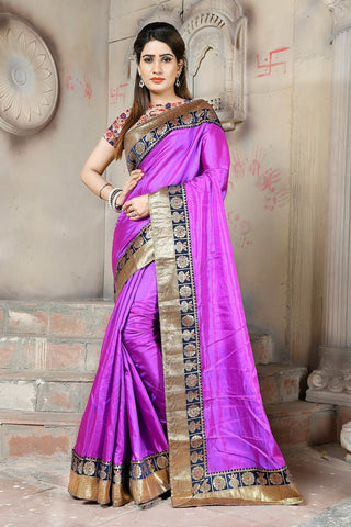 Purple Color Paper Silk Saree - NCC133D