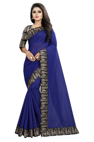 Navy Blue Color Chanderi Cotton Saree - NCC135A