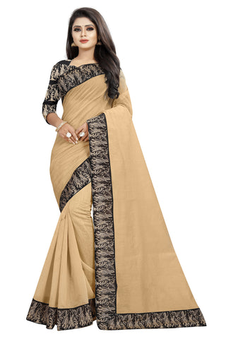 Cream Color Chanderi Cotton Saree - NCC135B