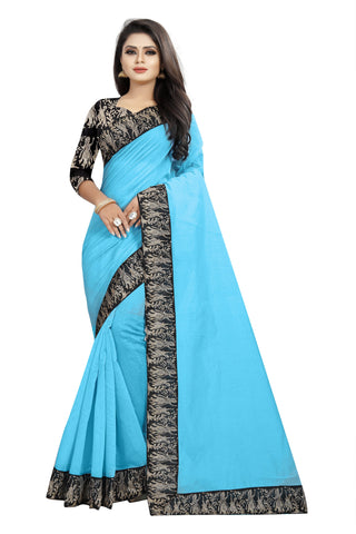 Sky Blue Color Chanderi Cotton Saree - NCC135C