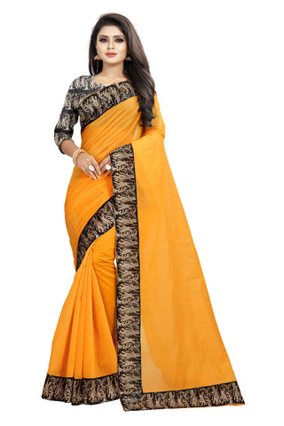 Yellow Color Chanderi Cotton Saree - NCC135D