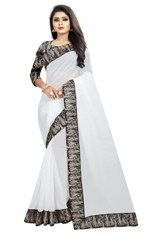 White Color Chanderi Cotton Saree - NCC135E