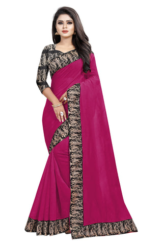 Rani Pink Color Chanderi Cotton Saree - NCC135F