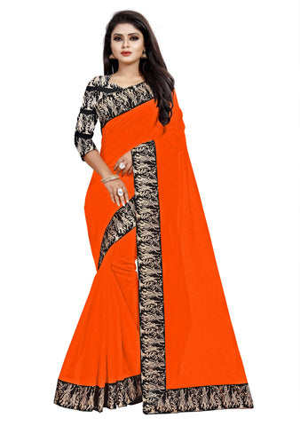 Orange Color Chanderi Cotton Saree - NCC135H