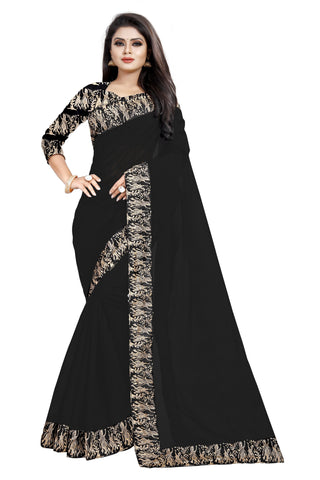 Black Color Chanderi Cotton Saree - NCC135I