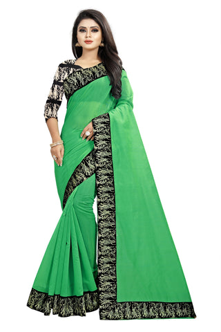 Pista Color Chanderi Cotton Saree - NCC135J