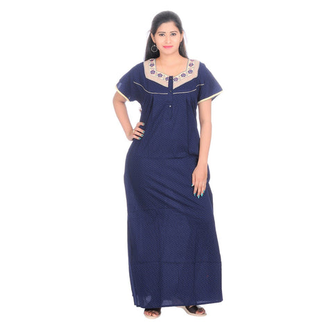 Blue Color Cotton Women's Square Neck Nighty - NE0006_B