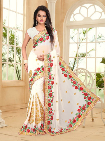 White Color Georgette Saree - NEWYEAR-465