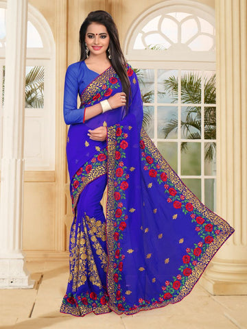 Royal Blue Color Georgette Saree - NEWYEAR-468