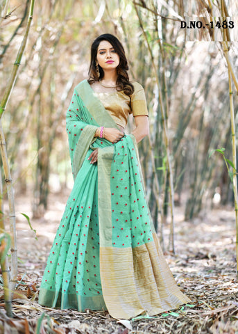 Sea Green Color Banarasi Art Silk Saree  - NF-1483