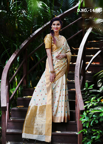 Off white Color Banarasi Art Silk Saree  - NF-1486