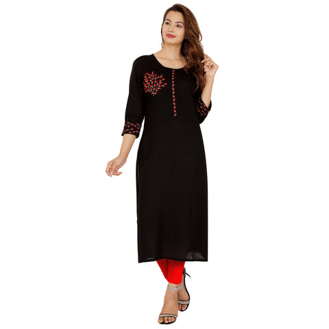 Black Color Rayon Slub Women's Stitched Kurti - NIT-422-BLACK