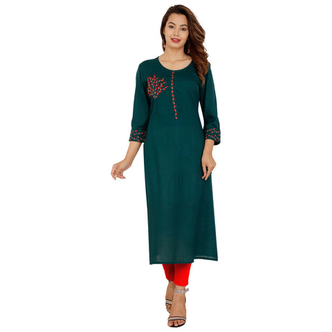 Green Color Rayon Slub Women's Stitched Kurti - NIT-422-GREEN