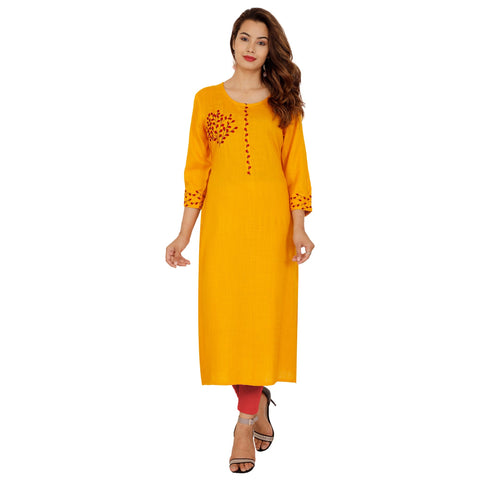 Yellow Color Rayon Slub Women's Stitched Kurti - NIT-422-YELLOW
