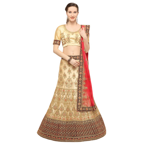 Beige Color Silk Semi Stitched Lehenga - NIYATI30001