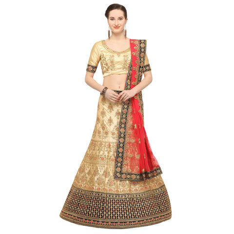 Beige Color Silk Semi Stitched Lehenga - NIYATI30002