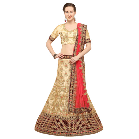 Beige Color Silk Semi Stitched Lehenga - NIYATI30003