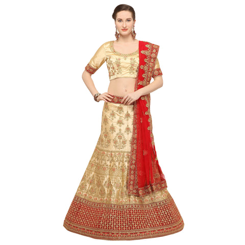 Beige Color Silk Semi Stitched Lehenga - NIYATI30004