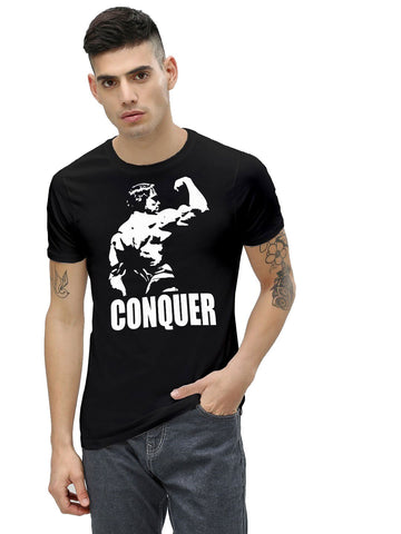 Black Color Cotton Men's Printed Tshirt - NJ00570107
