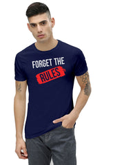 Buy Navy Color Cotton Men's Printed Tshirt