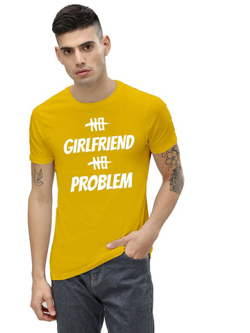 Yellow Color Cotton Men's Printed Tshirt - NJ00590105
