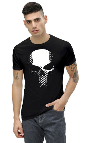 Black Color Cotton Men's Printed Tshirt - NJ00600107