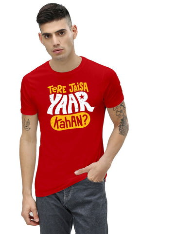 Red Color Cotton Men's Printed Tshirt - NJ00610104