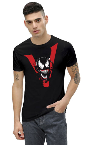 Black Color Cotton Men's Printed Tshirt - NJ00630107