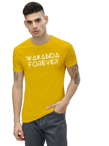 Yellow Color Cotton Men's Printed Tshirt - NJ00640105