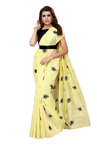 Yellow Color Chanderi Cotton  Saree - NKSI3002