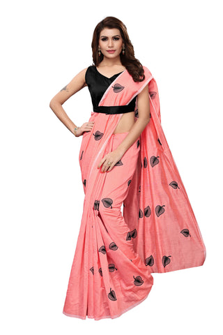 Peach Color Chanderi Cotton  Saree - NKSI3004