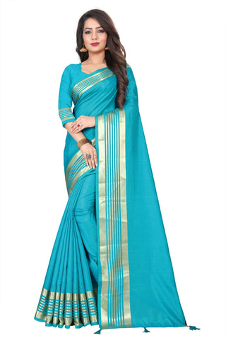 Blue Color Silk Women's Saree - NKT101