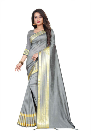 Grey Color Silk Women's Saree - NKT106