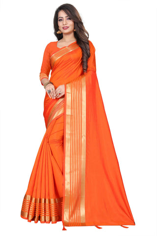 Orange Color Silk Women's Saree - NKT107