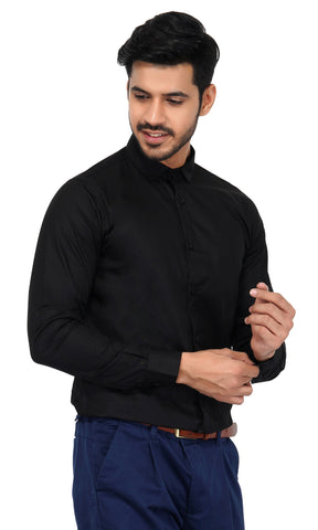 Black Color Cotton Men's Solid Shirt - NL-black-shirt