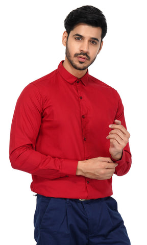 Red Color Cotton Men's Solid Shirt - NL-red-shirt