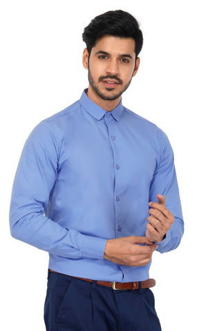 Skyblue Color Cotton Men's Solid Shirt - NL-skyblue-shirt