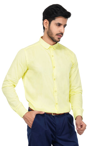 Yellow Color Cotton Men's Solid Shirt - NL-yellow-shirt