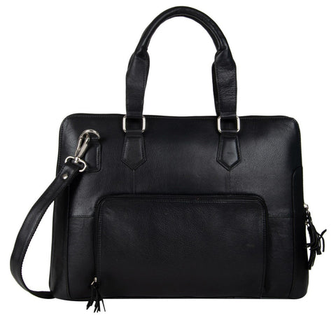 Black Color Leather Women Laptop Bag - NL08Black