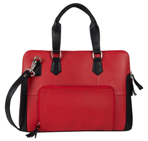 Red Color Leather Women Laptop Bag - NL08RED