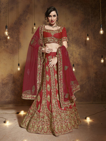 Red Color Tourky Silk Lehengas - NMBB490RED