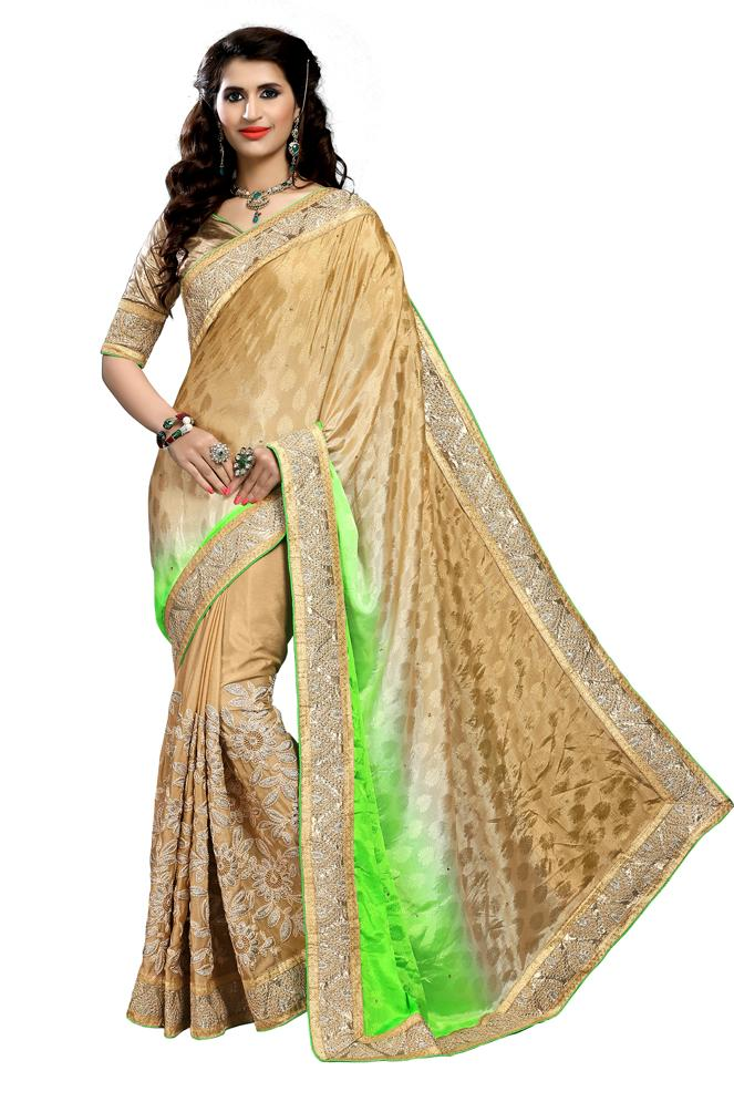 Green Color Jacquard Silk Embroidery Saree
