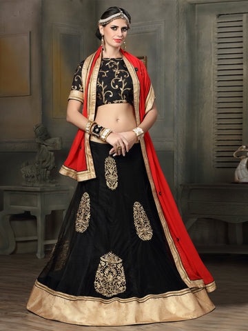 Black Color Net Lehenga - NMKQA669