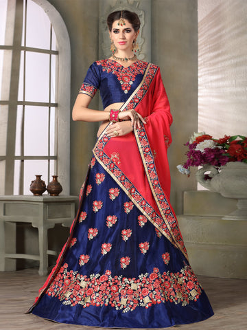 Navy Blue Color Net Lehenga - NMKQA671