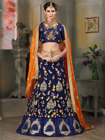 Navy Blue Color Net Lehenga - NMKQA672