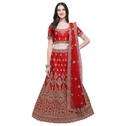 Red Color Silk Women's Semi-Stitched Lehenga Choli - NMMBA957DP