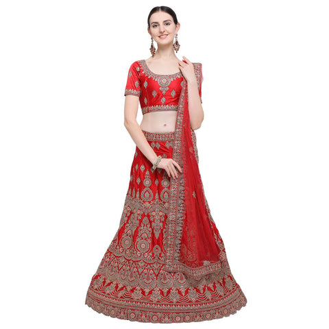 Red Color Silk Women's Semi-Stitched Lehenga Choli - NMMBA964DP